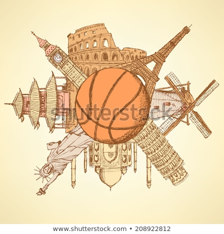известный архитектура зданий вокруг баскетбол мяча Сток-фото © kali