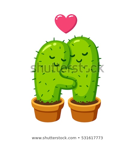cartoon · cactus · deserto · verde · isolato · illustrazione - foto d'archivio © adrenalina