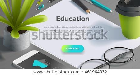 Zdjęcia stock: Zielone · powrót · do · szkoły · obraz · drewna · edukacji · kolegium