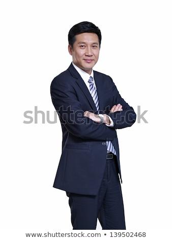 portré · érett · ázsiai · férfi · emberek · keresztbe · tett · kar - stock fotó © szefei