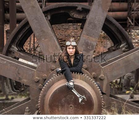 Vonzó steampunk lány visel arc fal Stock fotó © Nejron