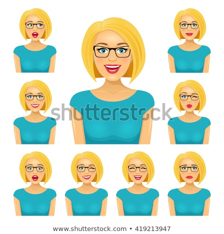Set of nine different expressions on a pretty girl Stock photo © stryjek