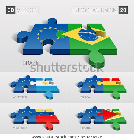 Európai szövetség Guyana zászlók puzzle izolált Stock fotó © Istanbul2009