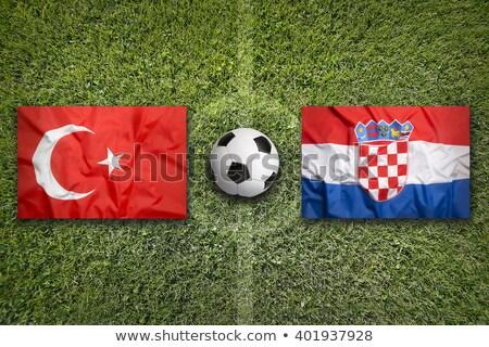 トルコ クロアチア フラグ パズル 孤立した 白 ストックフォト © Istanbul2009