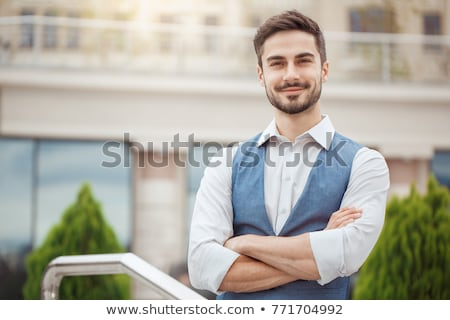 деловой · человек · оба · рук · кармана · счастливым - Сток-фото © feedough
