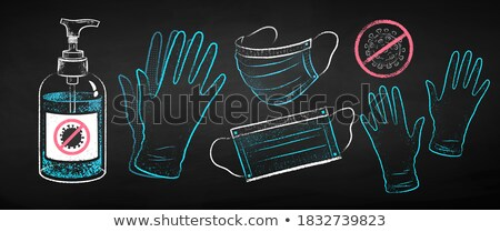 medical glove icon drawn in chalk stock photo © rastudio
