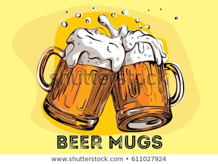 Stockfoto: Bier · mok · realistisch · vector · partij · goud