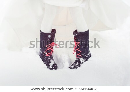 Felt bridal gown and boots Stock photo © svetography