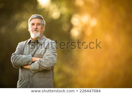 Idős férfi park fű boldog természet Stock fotó © Paha_L