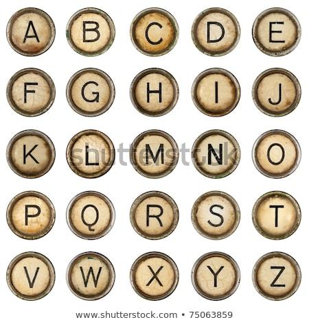 Schrijfmachine knoppen alfabet vintage brieven ingesteld Stockfoto © pakete