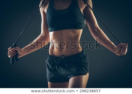 筋肉の · 若い女性 · 選手 · ロープ · 黒 · 飲料水 - ストックフォト © master1305