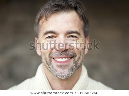 Gülen kıdemli adam hırka yaş moda Stok fotoğraf © dolgachov