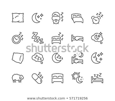 Dobrar cama linha ícone teia móvel Foto stock © RAStudio