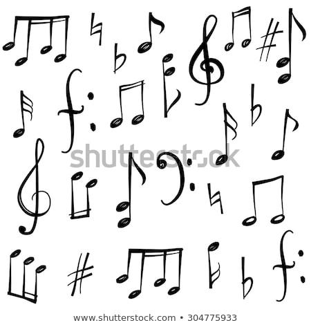 Zenei hang rajzolt lap vonal ikon háló Stock fotó © RAStudio