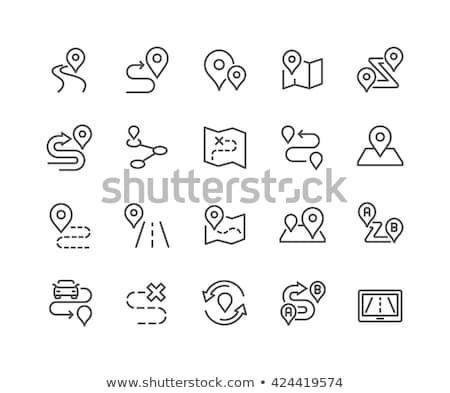 mapa · linha · ícone · teia · móvel · infográficos - foto stock © rastudio