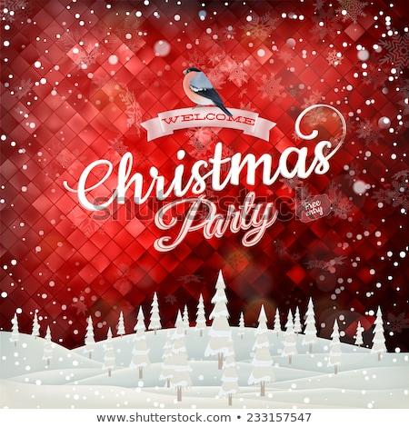 Christmas label with Bullfinch. EPS 10 Stock photo © beholdereye