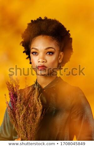 Portret volwassen vrouw groene blouse Stockfoto © d13