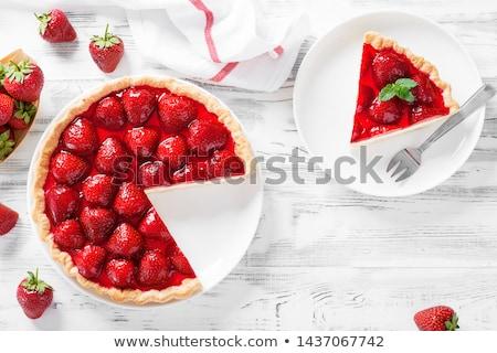 Epertorta réteges asztal háttér eper eszik Stock fotó © racoolstudio