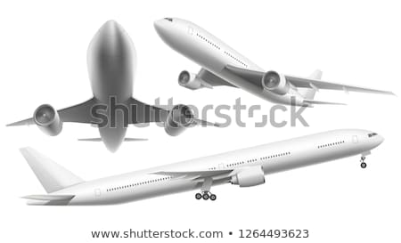 Airplane flying with shadow Stock photo © Zhukow