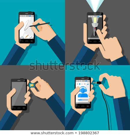 Smartphone with blank screen and mobile phone SIM card Stock photo © stevanovicigor