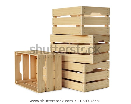 wooden boxes isolated 3d image stock photo © iserg