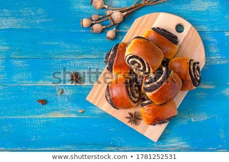 Papoula semente dois fresco pão fundo branco Foto stock © Digifoodstock