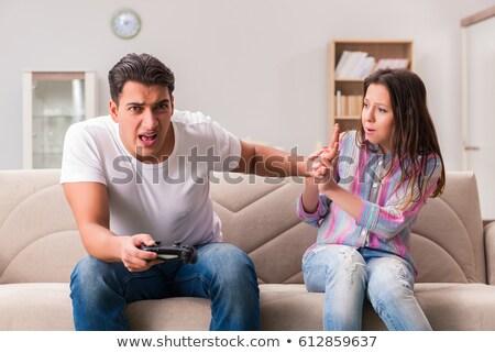 marido · esposa · hombre · mujer · jugando · virtual - foto stock © elnur