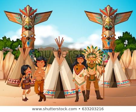 őslakos amerikai tábor helyszín illusztráció család Stock fotó © bluering