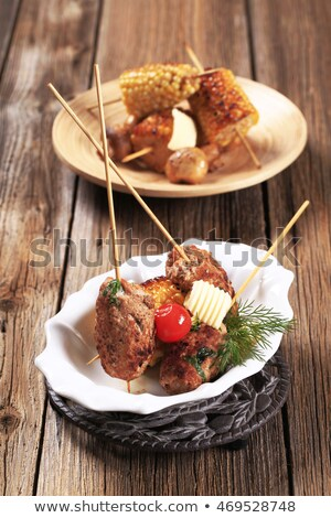 Stock photo: Minced Meat Kebabs And Roasted Sweetcorn