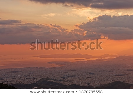 pôr · do · sol · ver · montanha · panorâmico · céu · nuvens - foto stock © ankarb