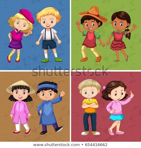 four couple of kids in different costumes stock photo © bluering