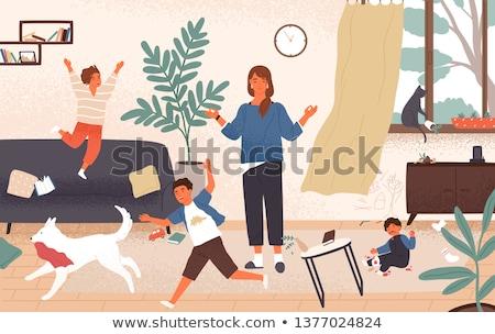 Anne kız kız oynamak çocuklar oda Stok fotoğraf © tekso