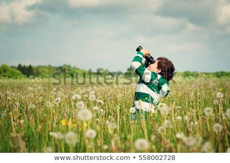 Fiú látcső néz virágok erdő kommunikáció Stock fotó © wavebreak_media