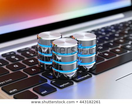 gegevensbescherming · Rood · toetsenbord · knop · tekst · hangslot - stockfoto © tashatuvango