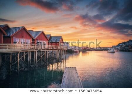 Piros fából készült ház Norvégia tipikus házak Stock fotó © compuinfoto