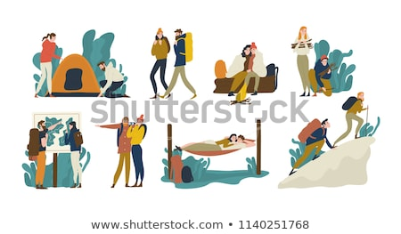 Boy and girl climbing into tent Stock photo © IS2