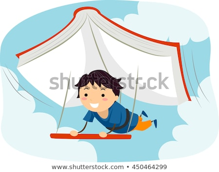 Stickman Kid Boy Book Gliding Stock photo © lenm