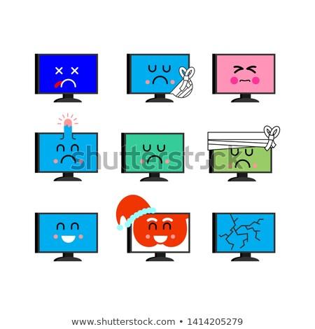 コンピュータ セット 幸せ pc 感情 病気 ストックフォト © MaryValery
