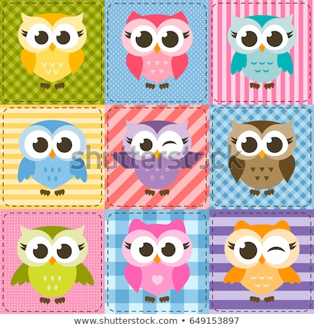 Kid Girl Sew Owl Pattern Stock photo © lenm