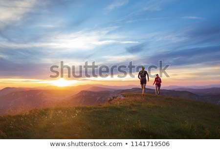 Woman athlete trail running in mountains, sport and fitness Stock photo © blasbike