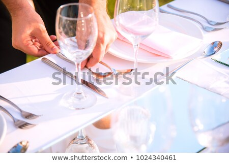 De ober leggen tafel hotel bloem man Stockfoto © IS2