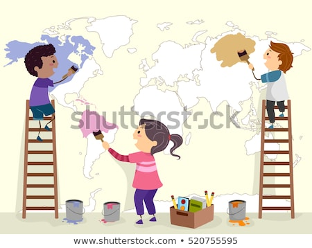Kinderen verf kaart aardrijkskunde illustratie groep Stockfoto © lenm