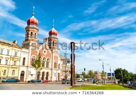Groot synagoge Tsjechische Republiek stad winter Blauw Stockfoto © benkrut
