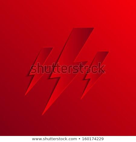 piros · ezüst · villám · vihar · felirat · vektor - stock fotó © vector1st