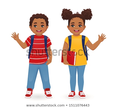 cartoon waving teen boy stock photo © cthoman