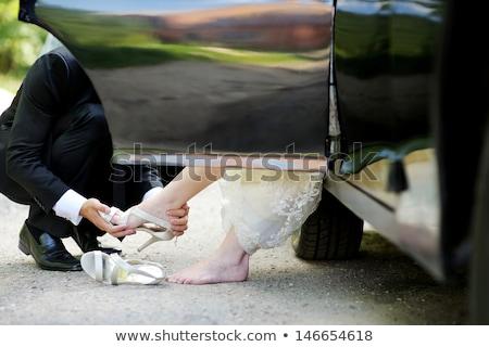 花嫁 · 花束 · 白いドレス · 触れる · リング - ストックフォト © ruslanshramko