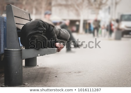Genç kadın uyku bank evsiz pop art Retro Stok fotoğraf © studiostoks