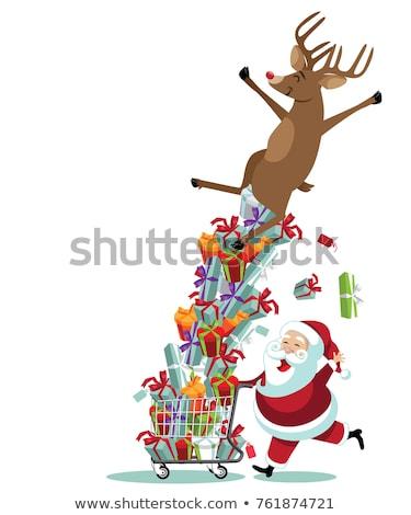 Stok fotoğraf: Noel · baba · binicilik · alışveriş · sepeti · mutlu · Noel · karakter