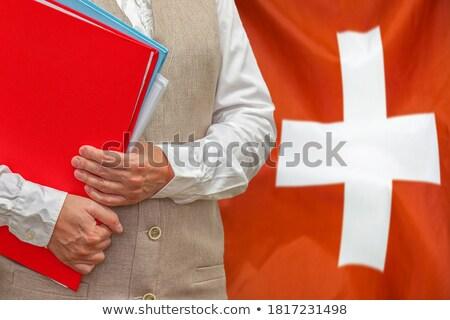 Klasör bayrak İsviçre Dosyaları yalıtılmış beyaz Stok fotoğraf © MikhailMishchenko