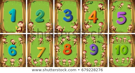 Stock photo: Counting numbers one to ten with forest background